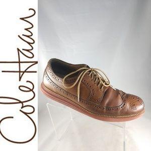 Cole Haan LunarGrand Brown Leather Wingtip Oxfords
